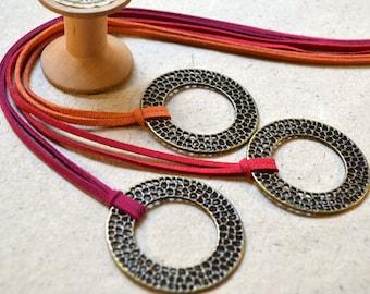 Necklace - Bronze Circle Pendant - Handmade