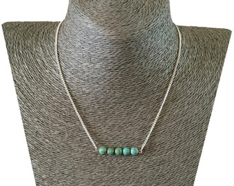 TURQUOISE Minimalistic 5 Bead Row Charm Pendant NECKLACE on Silverplated Chain