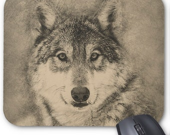 Beautiful Custom Mouse Pad with Timber Wolf Illustration