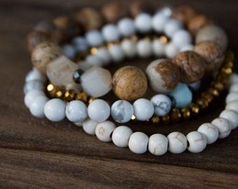 Arm Party Stack // Gemstone Bracelet Stack // 4 bracelets