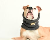 LARGE SnugABull Limited Charcoal Snood with Ribbed Collar and Pale Yellow Stars