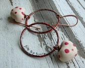 Funny Valentine-polymer red white dot hearts. red patina rings. fun Valentine heart earrings. Jettabugjewelry