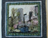 Central Park-NYC in Early Summer, Fiber Art Quilt-City Landscape