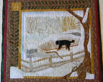 Down by the Pond-Winter, Fiber Art Quilt, Bernese Mountain Dog Collection