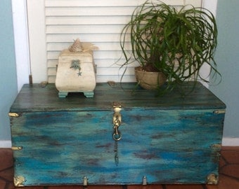 Blue Trunk Coffee Table Vintage 1940s