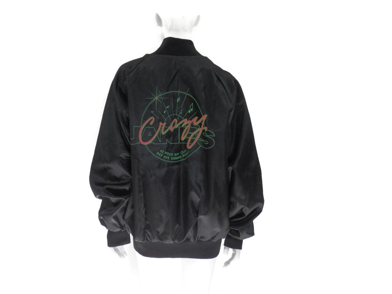 Crazy Jane S Nightclub Black Satin Baseball Jacket Retro