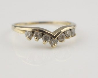 14ct Gold Wishbone Ring set with Small Faceted Cut Cubic Zirconia Stones Ladies Ring   Size UK P and US 7.75