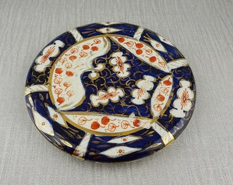 T. Dean & Sons Hand Painted Ceramic Round Teapot Stand Trivet Blue with Gold and Red Details