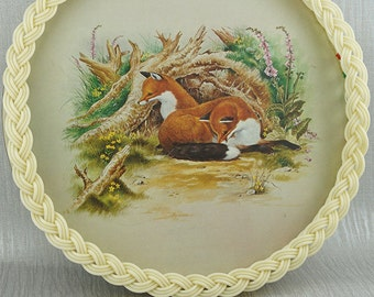 Kitsch Plastic Woven Edge Serving Tray with Fox Printed Base Cream with Beaded Handles