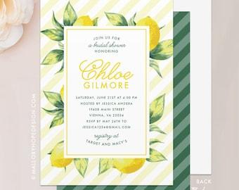 "Lemon Bridal Shower Invitation - 5""x7"" Invitation & Envelope - Lemon Shower Invite, Lemon Shower Invite, Bridal Brunch"
