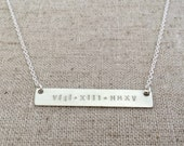 Roman Numeral Necklace - Silver Name Bar - Nameplate Necklace - Personalized Bar
