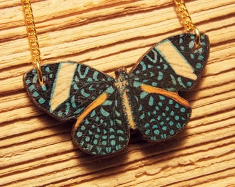 Blue and Gold Wooden Butterfly Necklace