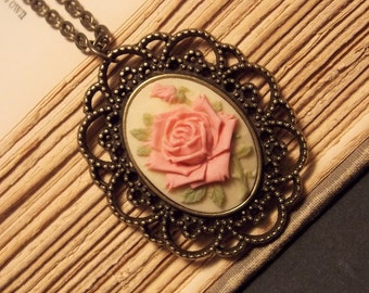 Pink and Bronze Rose Cameo Necklace