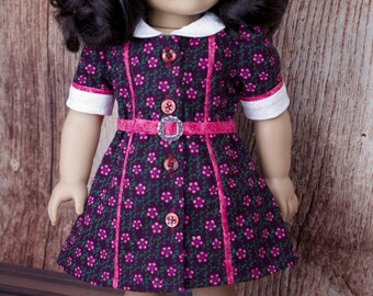 American Girl Dolls Clothes ~ 1940's Dress, Brown and Pink vintage style