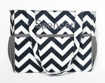 Personalized Chevron Diaper Bag in Navy Blue andGray or Choose Your Own 12 Pockets Zipper Closure