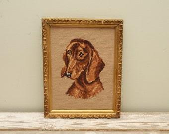 Dachshund Dog Needlepoint Ornate Gold Frame