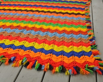 Vintage Crocheted Afghan Primary Colors