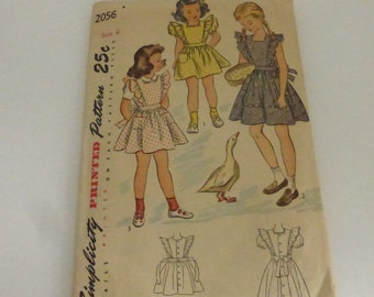 Rescued Vintage Simplicity Pattern 2056 Girl's Dress or Pinafore Size 6