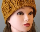 Gold Womans Winter Hat Crochet Hat, Cable Stitch Womens Handmade Hat, Gold Beanie Winter Accessories Autumn Accessories Fall Fashion