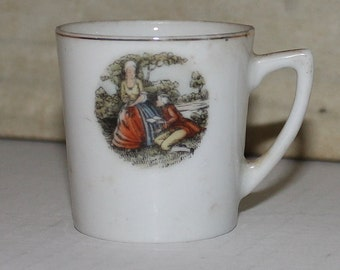 Vintage Hand Painted Delicate Porcelain Cup - Victorian Couple - Small - Toothpick Holder - Teacup - 1958 Japan - Shabby Chic- Cottage Decor