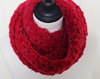 Red infinity scarf, pink infinity scarf, loop scarf, red circle scarf, Winter scarf, Winter accessories, women's scarf, uk infinity scarves