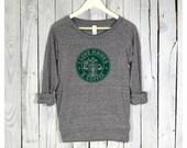 Seahawks Shirt. I Love Hawks & Coffee. Seattle Shirt. Womens Pullover.