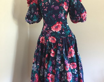 Vintage 80's Puff Sleeve Tea Length Black and Floral Dress XS S
