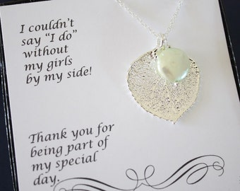 10 Leaf Bridesmaid Necklace Gifts Mint Pearl, Leaf Necklaces, Bridesmaid Pendant, Silver Leaf, Real Leaf,  Bridal Gift, Thank You Card
