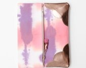 MARBLE 60 / Hand colored cotton & natural leather fold over clutch bag wih leather tassel - Ready to Ship