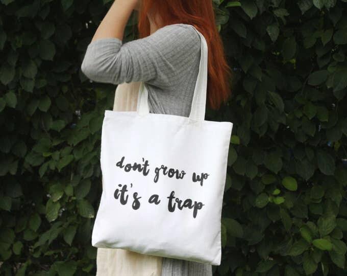 Cotton tote bag. Fabric shopping bag. Large shoulder bag. Canvas tote bag. Bridesmaid gift. White bag. Handwritten. /SIMPLE TOTE 4