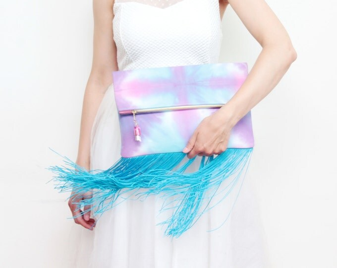 WINDY //Large fringe clutch bag-tassel purse-boho bag-oversized clutch-dyed cotton folded bag-blue fringes-pink purple ombre- Ready to Ship