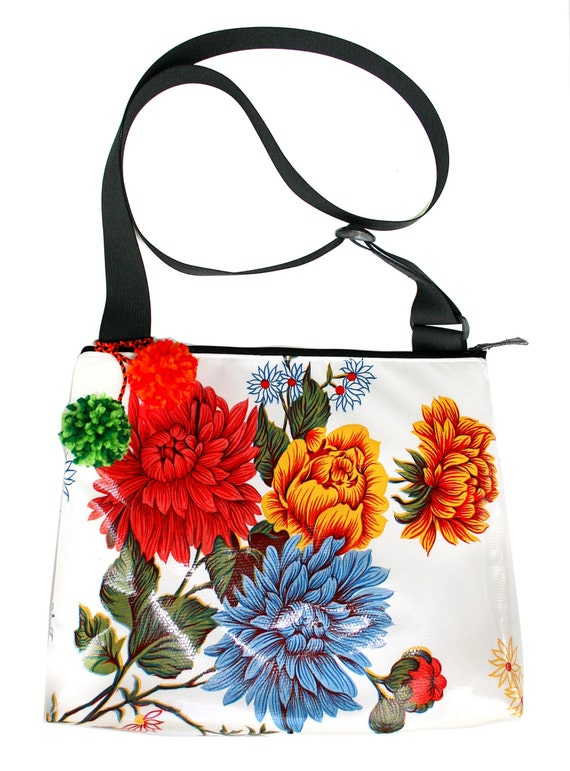White floral, oil cloth, pom poms, large, cross body bag