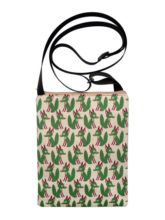 SALE! Foxes, green, Japanese import fabric, cross body bag, flat bag