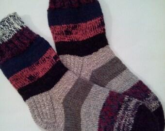 Hand Knit Wool Socks -Colorful  Mens Socks-Size Medium US10,5-11,EU44 -House Wool Socks-Handmade Socks