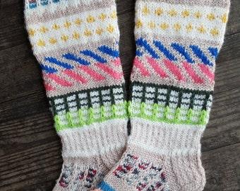 Hand Knitted Pattern Socks-Womens Soks-Long Socks-Size Medium-US W8,5 -9/EU40
