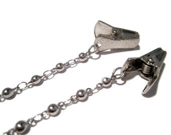Ball Chain Clip Eyeglass Holder- Clip Holder for Glasses- Eyeglass Chain- Eyeglass Holder Chain with Alligator Clips- Metal Eyeglass Chain