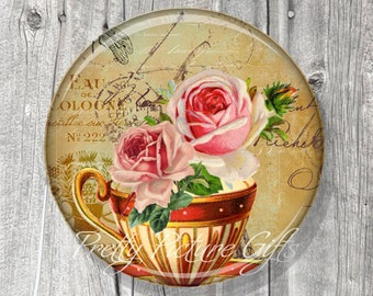 Pocket Mirror, Bridal Shower Party Favors, Unique Wedding Favors, Tea Party Favors, Compact Mirror Vintage Tea Cup, Gift under 5 - A152