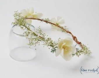 Baby's Breath Flower Crown - Dried Baby's Breath, Gypsophila, Boho Flower Crown, Dried Flowers, White Flower Crown, Baby's Breath Crown
