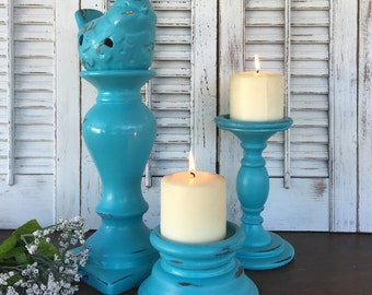 Bird Theme Candle Holder Grouping - Set of 3 Turquoise Blue Table Top Pillar Candle Holders - Cottage Chic Beach Mantel Dining Table Decor