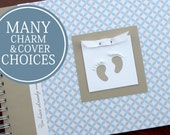 Gender Neutral Baby Book | Baby Memory Book | Baby Album | Baby Photo Book | Baby Journal | Boy Girl | Personalized | Blue and Gray Circles