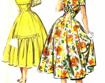 Junior Misses 1950's Rockabilly Dress Full Skirt, Gathered Details, Bows, Dress Vintage Sewing Pattern McCalls 4362 Size 15 Bust 35