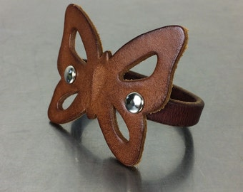Leather Butterfly Bracelet - Brown Boho Style Cuff - Size Large