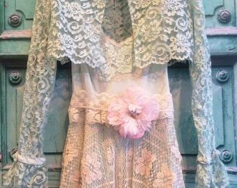 pale sea foam green vintage alencon lace bolero wedding jacket by mermaid miss Kristin