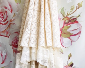 Ivory & bisque cotton lace boho wedding dress by Mermaid Miss Kristin