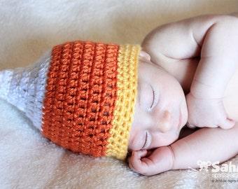 PATTERN Instant Download Candy Corn Hat Newborn to Toddler Sizes baby Crochet Beanie Halloween Photo Prop