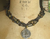 Vintage Rosary Choker with Wonderful Old Medal