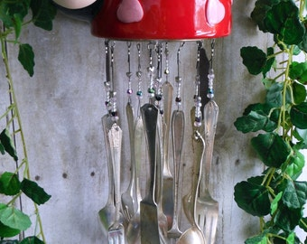 Ladybug Windchime with Silverplate Chimes