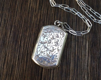 Antique Victorian Rectangular Sterling Silver Locket Necklace,  1885 Birmingham Hallmarked