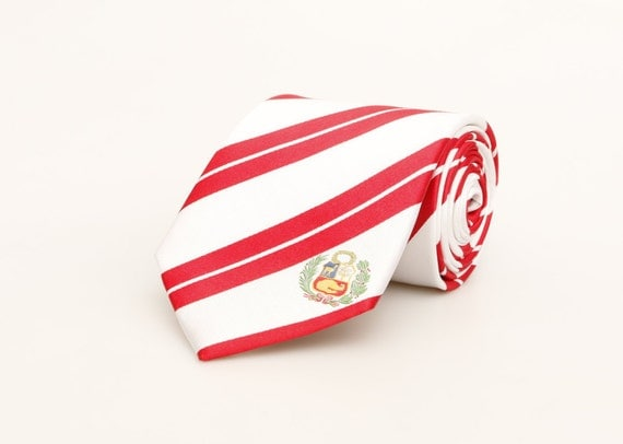 Peru Necktie - Inspired by the Peruvian Flag with Optional Personalized Tag. Peru Flag.