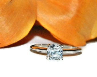 1 Carat Promise Ring, Square Stone, Purity Ring, Sterling Silver Ring With Stone